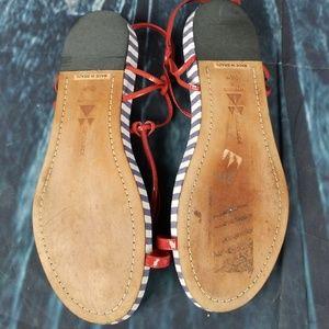 Dani Black Shoes - Dani Black Thong Flat Sandals, Size 9.5